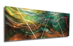 Nicholas Yust Metal Abstract Modern Painting Sculpture Green Gold Copper Silver