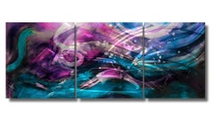 Nicholas Yust Metal Abstract Modern Wall Hanging Sculpture Blue Purple Fuchsia