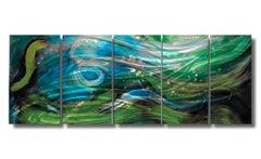 Nicholas Yust Modern Contemporary Metal Wall Decor Sculpture Blue Green Silver