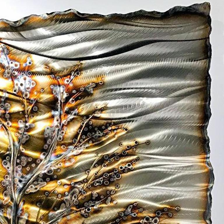 Nicholas Yust Torched Metal Contemporary Abstract Landscape Wall Art Sculpture For Sale 2