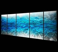 Large Modern Wall Sculpture Modern Blue Painting Original Abstract Metal Art