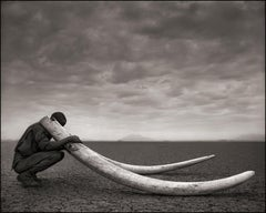 Ranger with Tusks of Killed Elephant, Amboseli – Nick Brandt, Elephant, Africa