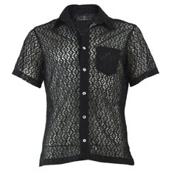Nick Coleman 1990s Mens Vintage Black Sheer Lace Short Sleeve Party Shirt