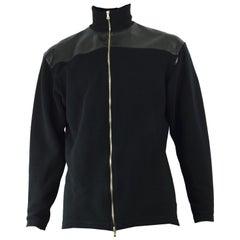Nick Coleman Shield Vintage Men's Black Vinyl & Ribbed Zip Up High Neck Jacket