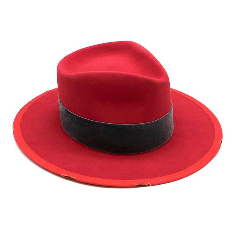 Nick Fouquet Red Island Distressed Matchstick Wool Felt Fedora In New Condition For Sale In London, GB