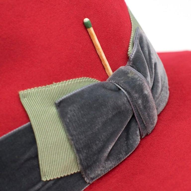 Women's Nick Fouquet Red Island Distressed Matchstick Wool Felt Fedora For Sale