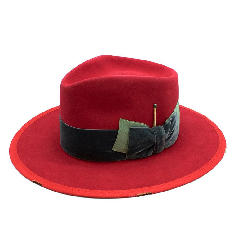 Nick Fouquet Red Island Distressed Matchstick Wool Felt Fedora For Sale 2