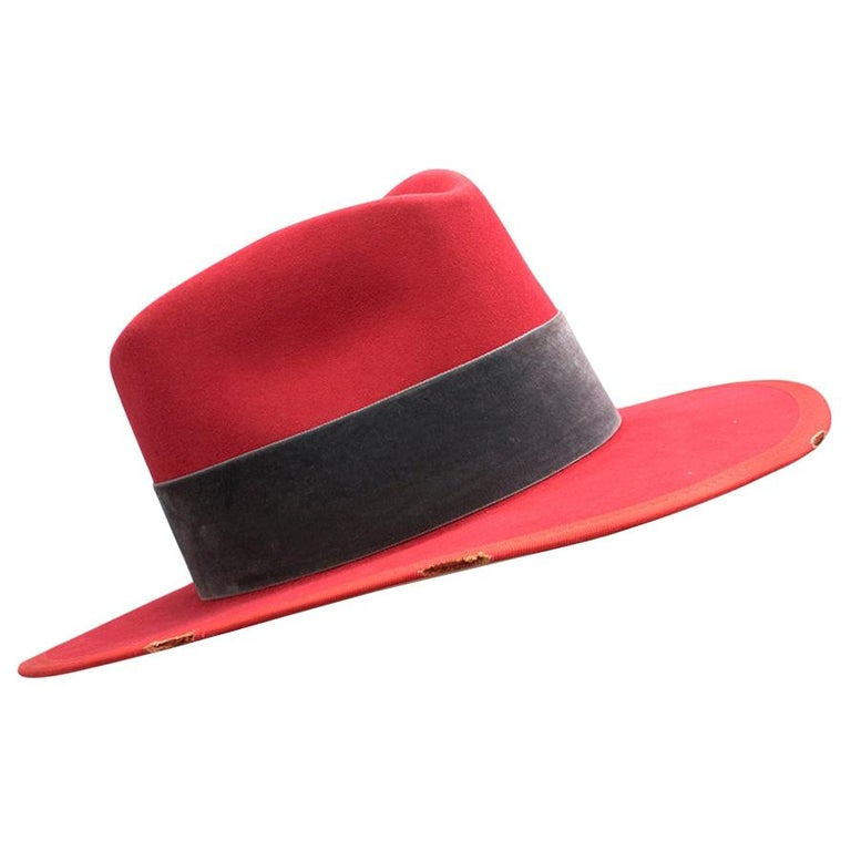 Nick Fouquet Red Island Distressed Matchstick Wool Felt Fedora For Sale
