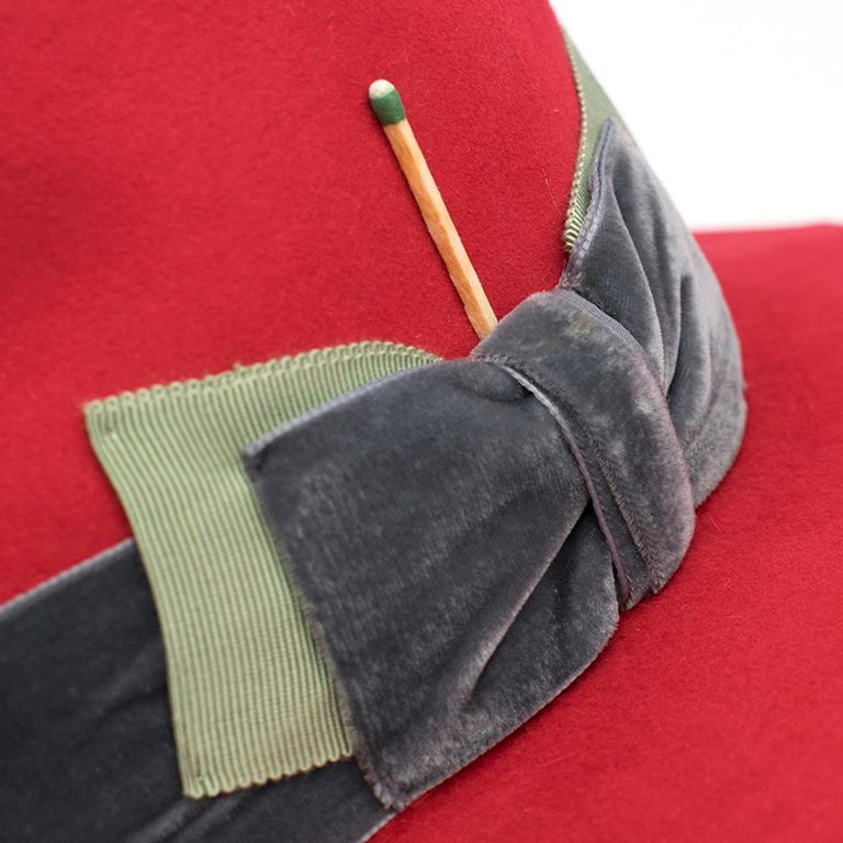 Women's Nick Fouquet Red Island Distressed Matchstick Wool Felt Fedora - Size 6 3/4, 54 For Sale