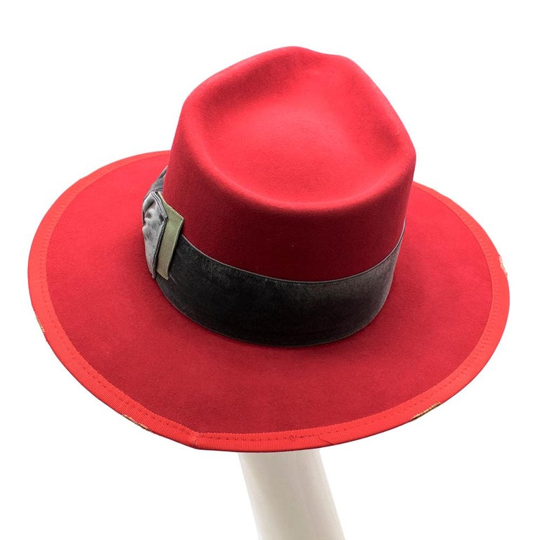 Nick Fouquet Red Island Distressed Matchstick Wool Felt Fedora - Size 6 3/4, 54 For Sale 3