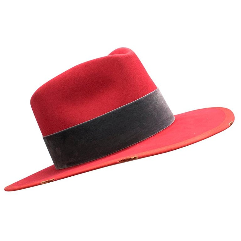 Nick Fouquet Red Island Distressed Matchstick Wool Felt Fedora - Size 6 3/4, 54 For Sale