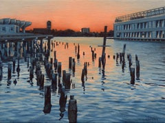 Hudson River Sunset and the Ghost of Pier 56, Oil Painting
