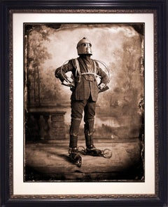 "The Perambulator: Surreal, Vintage Style Sepia ""Steampunk"" Man in Ornate Frame"