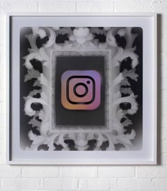"X-Ray photo with ""Insta"" stencil framed in white"