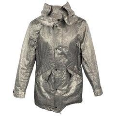 NICK WOOSTER x PAUL & SHARK Size M Black & Cream Checkered Nylon Hooded Coat