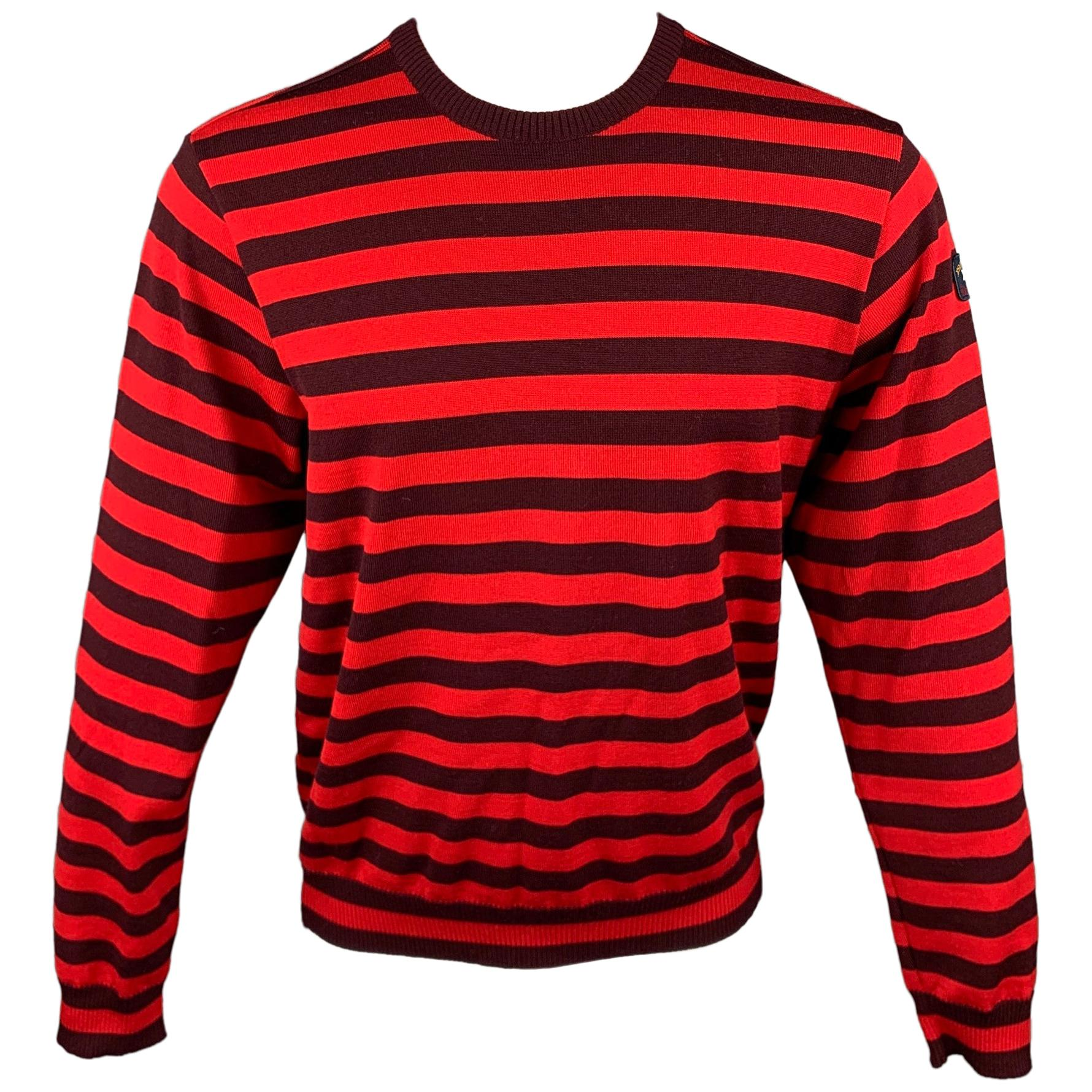 NICK WOOSTER x PAUL SHARK Size M Red & Brown Stripe Wool Crew-Neck Sweater