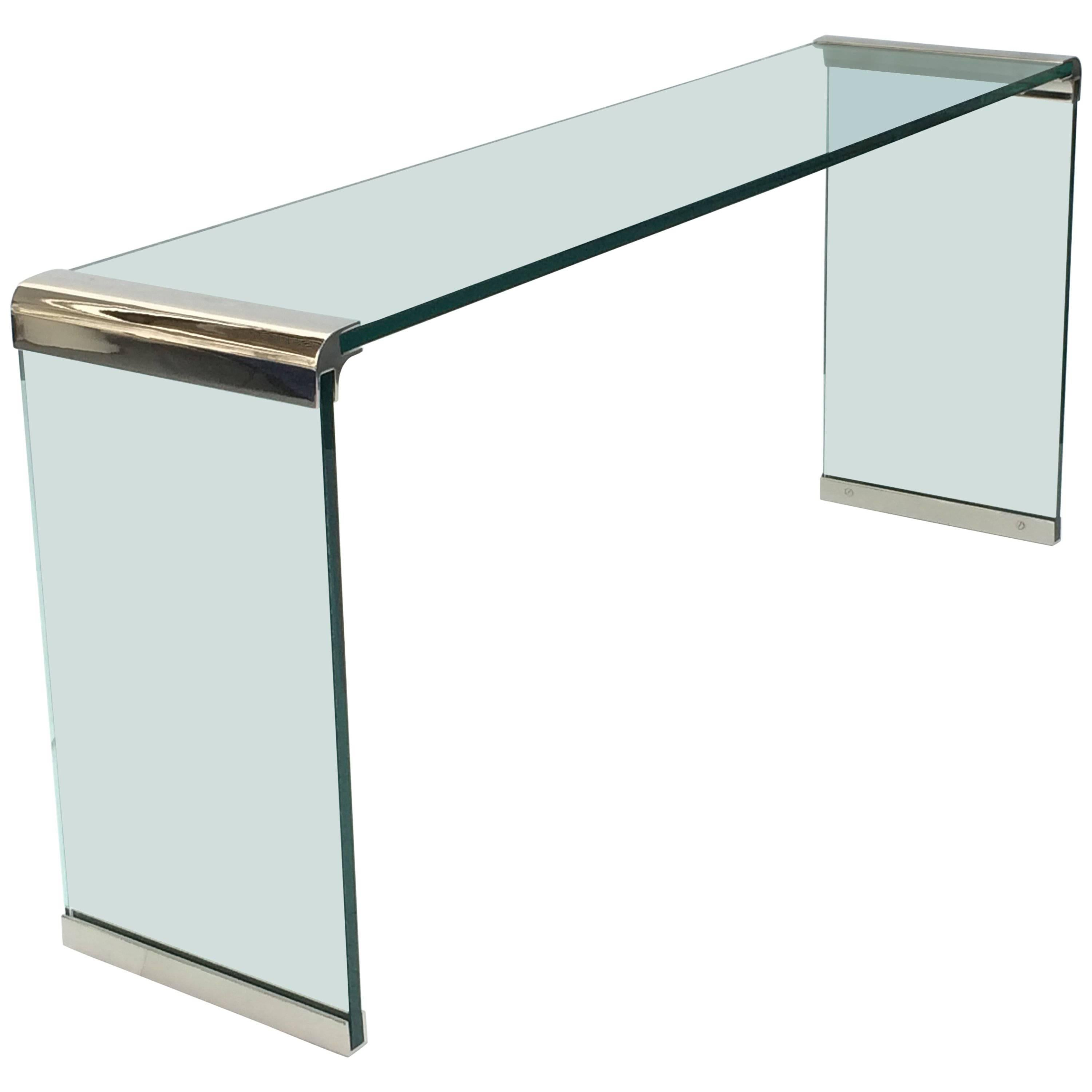 Nickel And Glass Console Table By Leon Rosen For Pace Collection For Sale At 1stdibs
