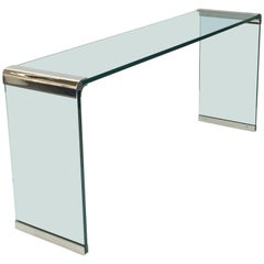 Nickel and Glass Console Table by Leon Rosen for Pace Collection
