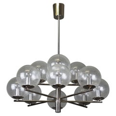 Nickel and Glass Globe Chandelier by Glashütte Limburg, Germany, circa 1970s