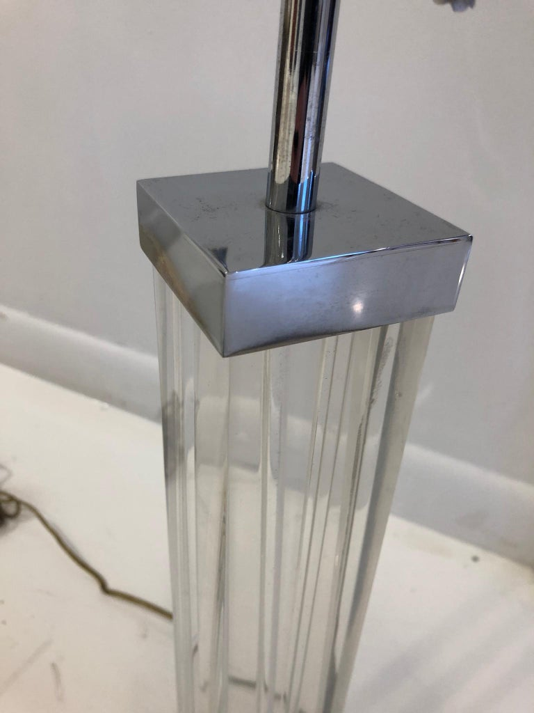 Late 20th Century Nickel and Lucite Lamp By Karl Springer For Sale