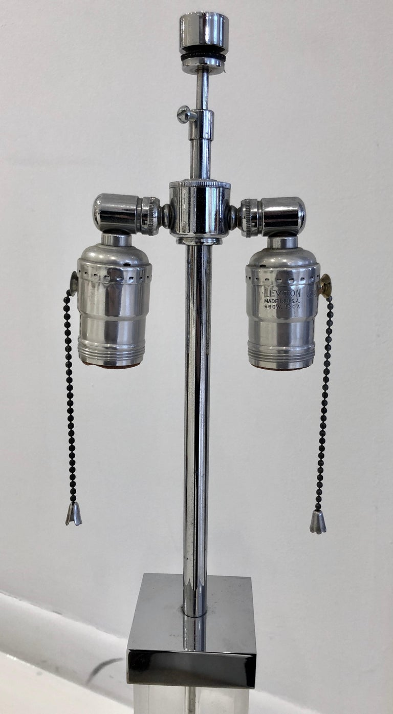 Nickel and Lucite Lamp By Karl Springer For Sale 2