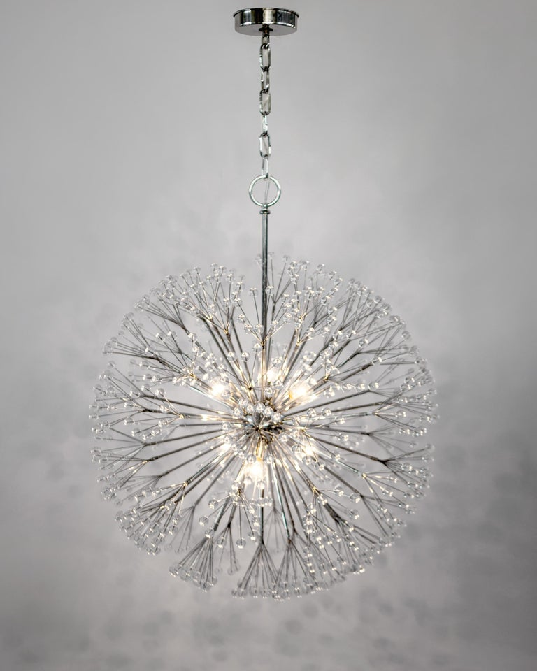 Modern Nickel Dandelion 32 Chandelier Designed by Tony Duquette for Remains Lighting For Sale