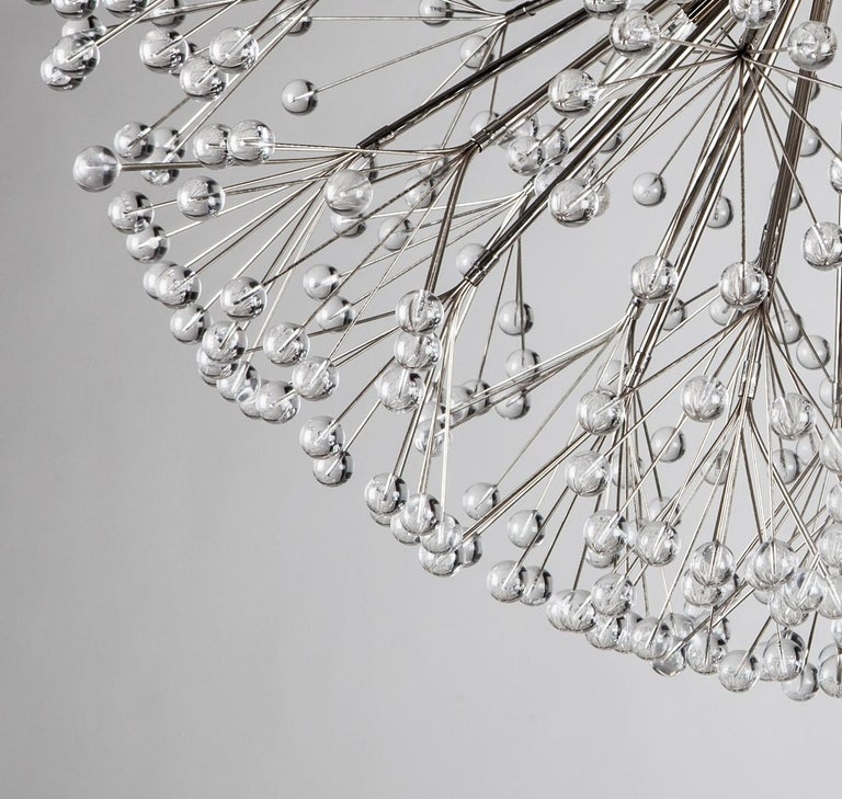 American Nickel Dandelion 32 Chandelier Designed by Tony Duquette for Remains Lighting For Sale