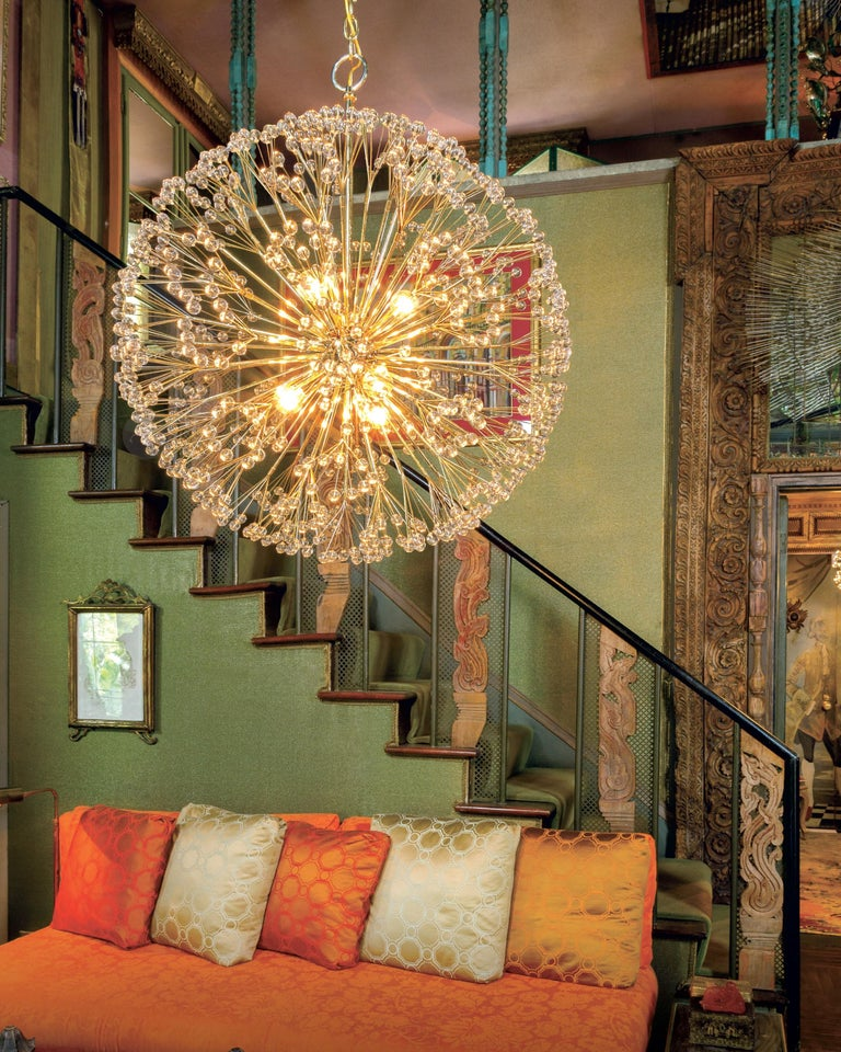 Nickel Dandelion 32 Chandelier Designed by Tony Duquette for Remains Lighting In New Condition For Sale In New York, NY