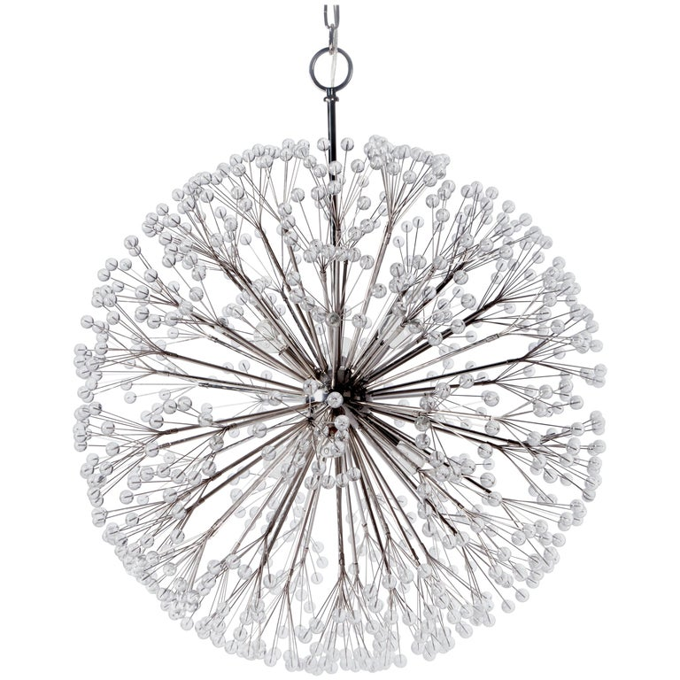 Nickel Dandelion 32 Chandelier Designed by Tony Duquette for Remains Lighting For Sale