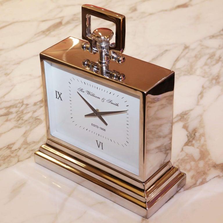 Belgian Nickel Desk Clock For Sale