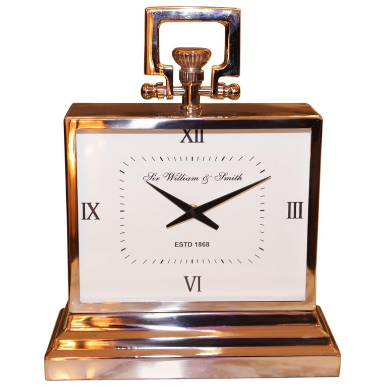 Nickel Desk Clock For Sale