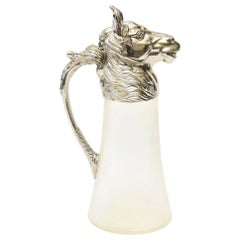 Nickel-Plated and Glass Horse Decanter Pitcher Barware Vintage