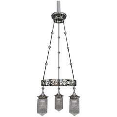 Nickel-Plated Art Deco Chandelier with Original Cut-Glasses, circa 1920s
