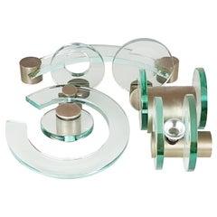 Nickel-Plated Brass and Glass 1960s Bathroom Set by Fontana Arte, Set of 7 Items