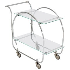 Nickel-Plated Brass  Art Deco Bauhaus Style Serving Trolley, 1930s