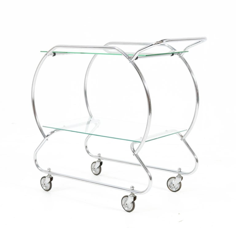 Nickel-Plated Brass Art Deco Serving Trolley, 1930s For Sale 5