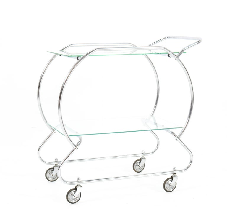 Nickel-Plated Brass Art Deco Serving Trolley, 1930s For Sale 1