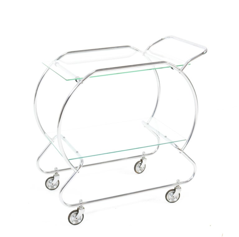 Nickel-Plated Brass Art Deco Serving Trolley, 1930s For Sale 3