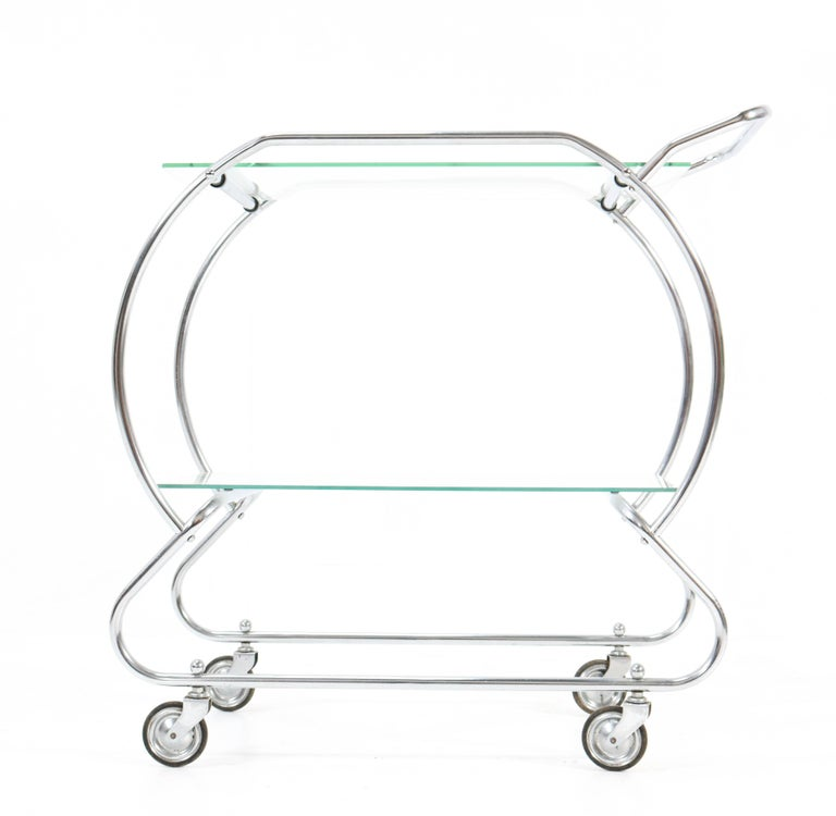 Nickel-Plated Brass Art Deco Serving Trolley, 1930s For Sale 4