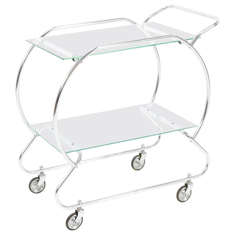 Nickel-Plated Brass Art Deco Serving Trolley, 1930s For Sale