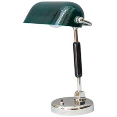 Nickel-Plated Brass Art Deco Table Lamp with Original Glass