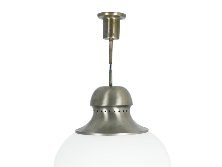 Space Age Nickel-Plated Brass Opaline Glass Shade 1960s A298 Pendant Lamp by Candle For Sale