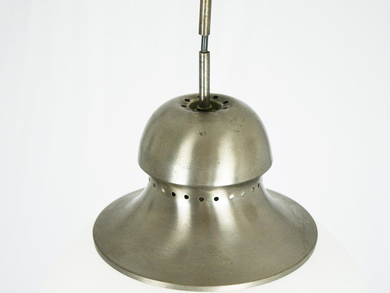Italian Nickel-Plated Brass Opaline Glass Shade 1960s A298 Pendant Lamp by Candle For Sale