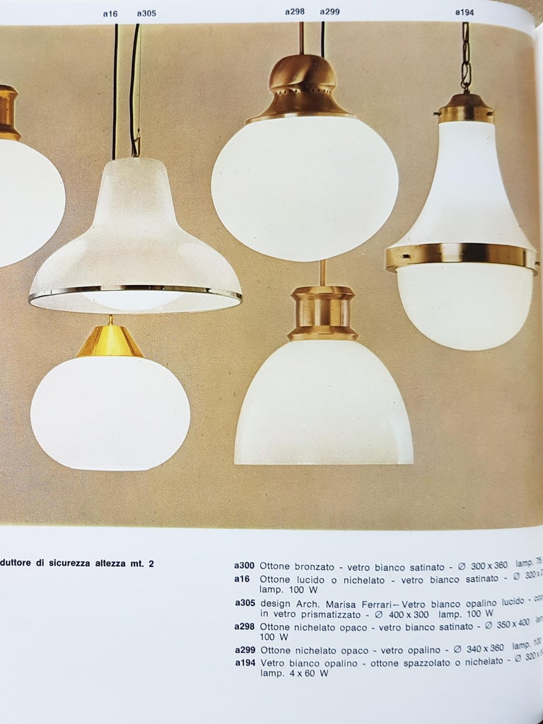 Nickel-Plated Brass Opaline Glass Shade 1960s A298 Pendant Lamp by Candle In Good Condition For Sale In Varese, Lombardia