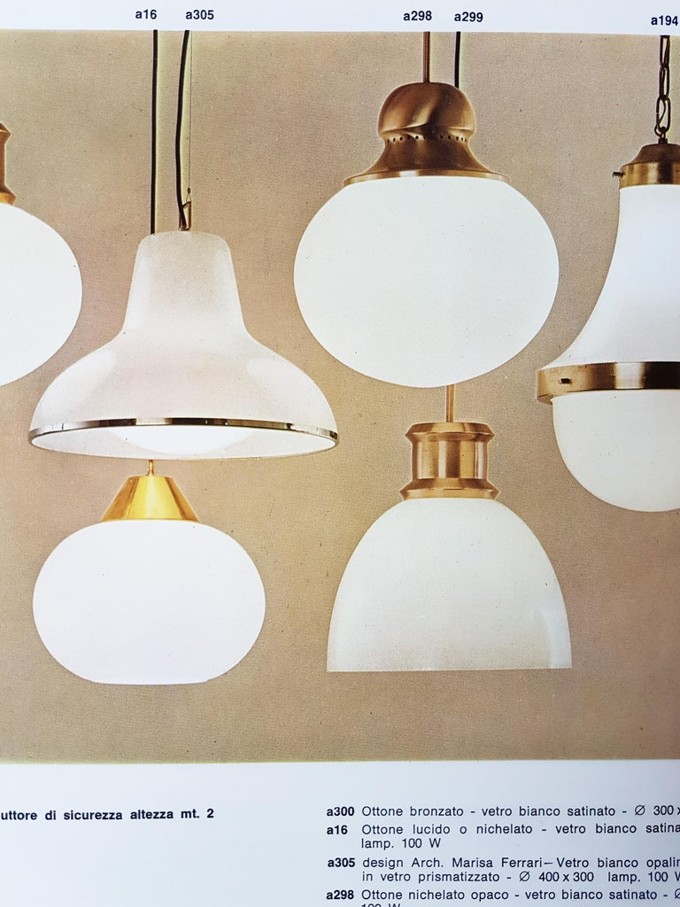 Mid-20th Century Nickel-Plated Brass Opaline Glass Shade 1960s A298 Pendant Lamp by Candle For Sale