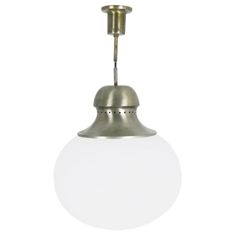 Nickel-Plated Brass Opaline Glass Shade 1960s A298 Pendant Lamp by Candle For Sale