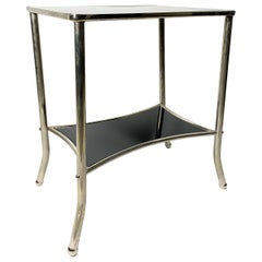 Nickel-Plated Console Table with Black Glass, 1930s