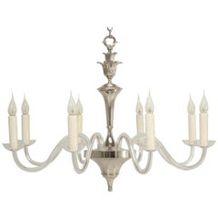 Nickel-Plated Eight-Light Chandelier