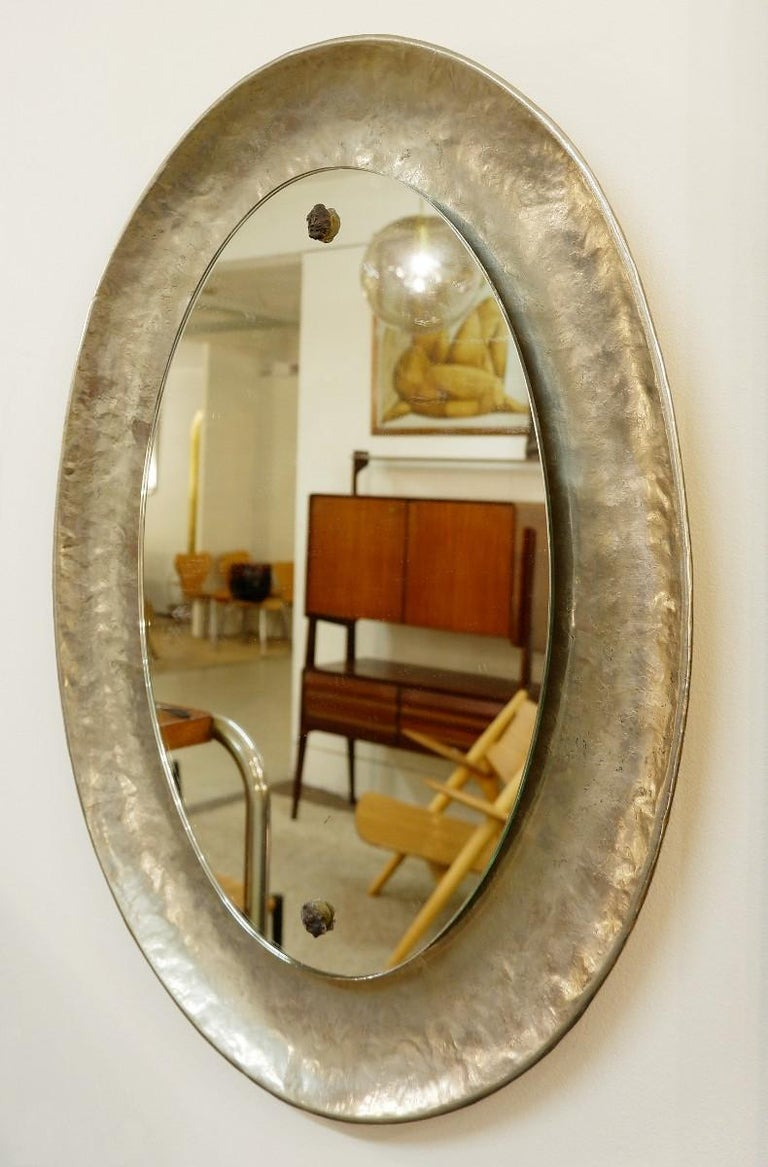 Mid-Century Modern Nickel-Plated Hand-Hammered Bragalini Mirror, Italy, 1960s For Sale