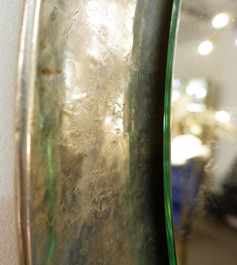 Italian Nickel-Plated Hand-Hammered Bragalini Mirror, Italy, 1960s For Sale
